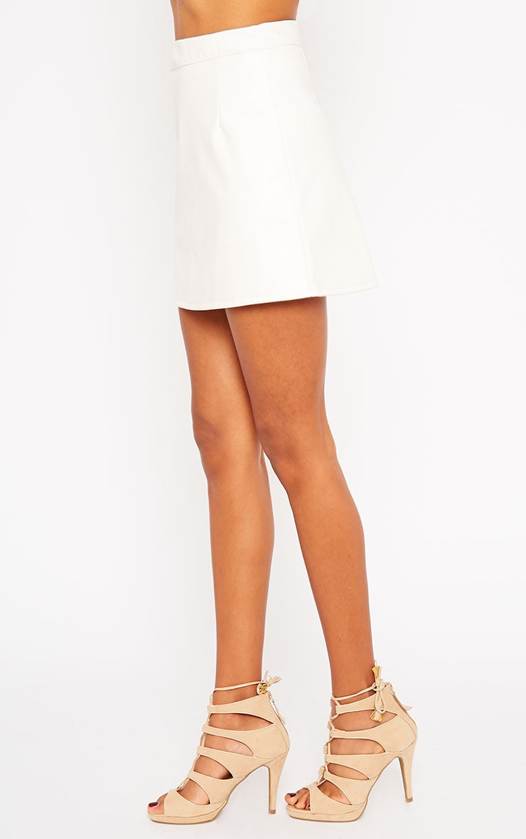 Rose Cream Faux Leather Mini Skirt  3