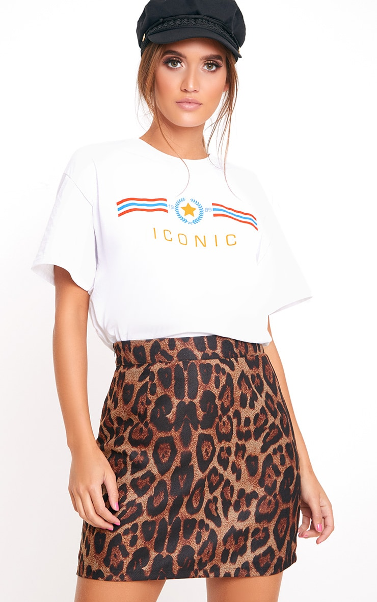 Stone Leopard Print Tiger Applique Mini Skirt 1