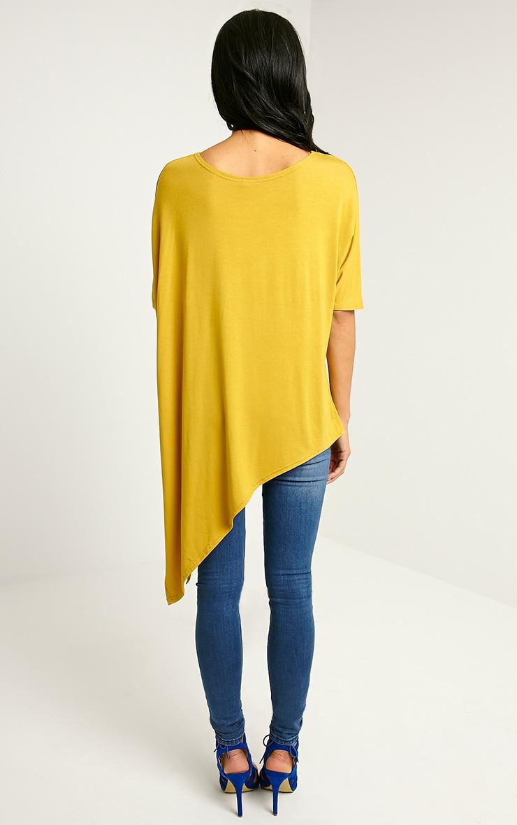 Basic Mustard Asymmetric T-Shirt 2