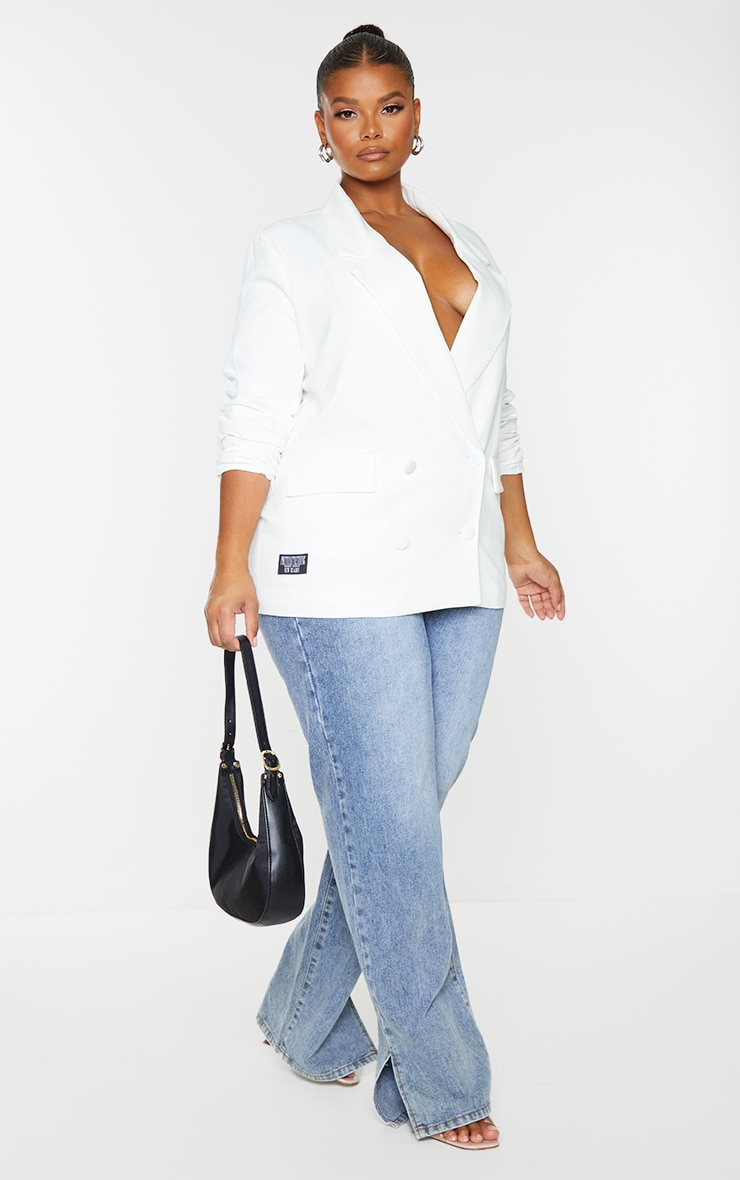 PRETTYLITTLETHING Plus White Double Breasted Blazer 1