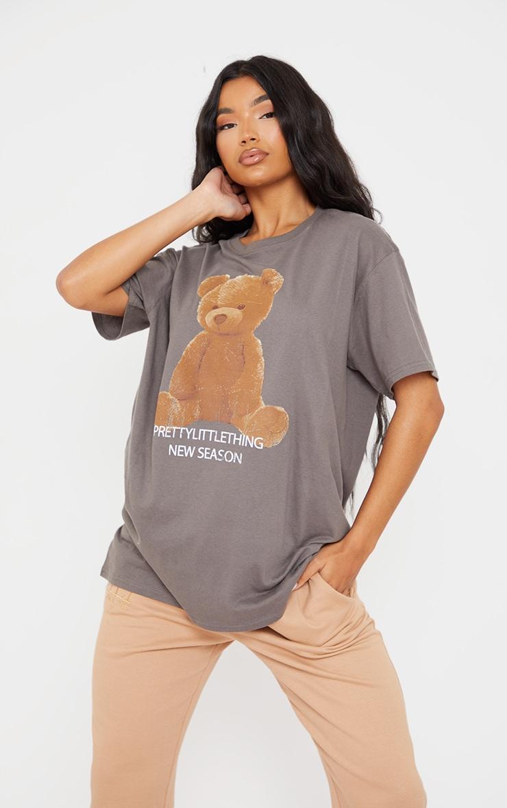 PRETTYLITTLETHING Charcoal Teddy Bear T Shirt 1