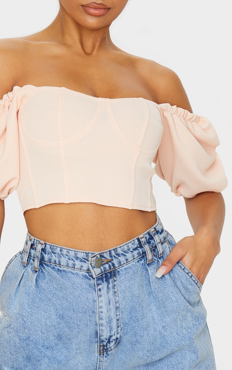 Nude Textured Crepe Bardot Puff Sleeve Crop Top 5