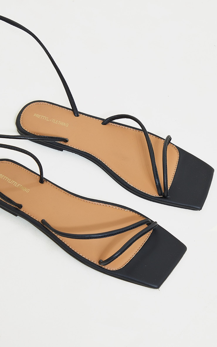 Black Real Leather Lace Up Square Toe Sandals 4