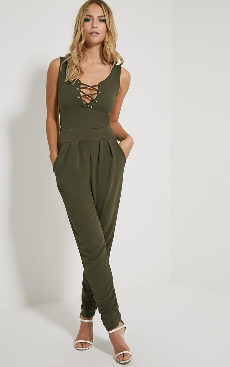 Remi Khaki Lace Up Crepe Jumpsuit 1