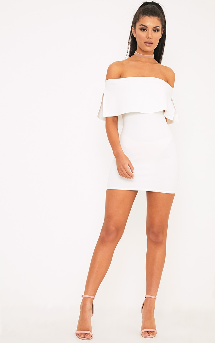 Carley White Bardot Frill Bodycon Dress 4