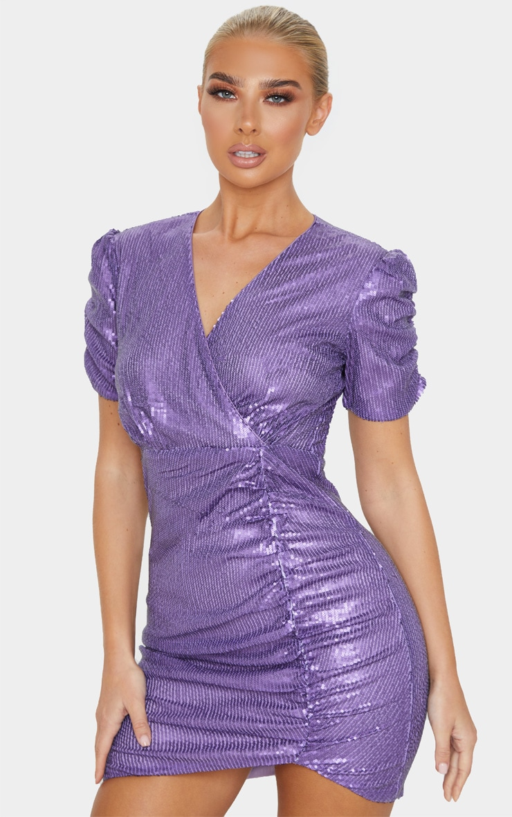 Purple Sequin Ruched Wrap Detail Short Sleeve Bodycon Dress 1