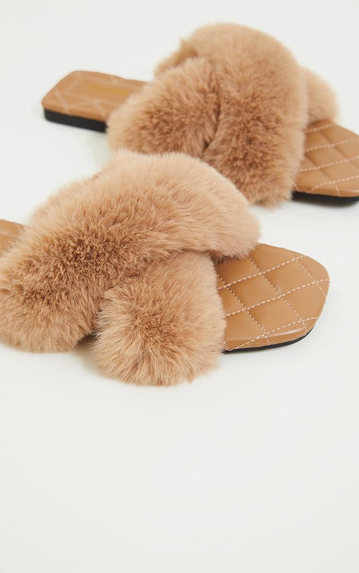 Tan Faux Fur Cross Strap Square Toe Sandals 4