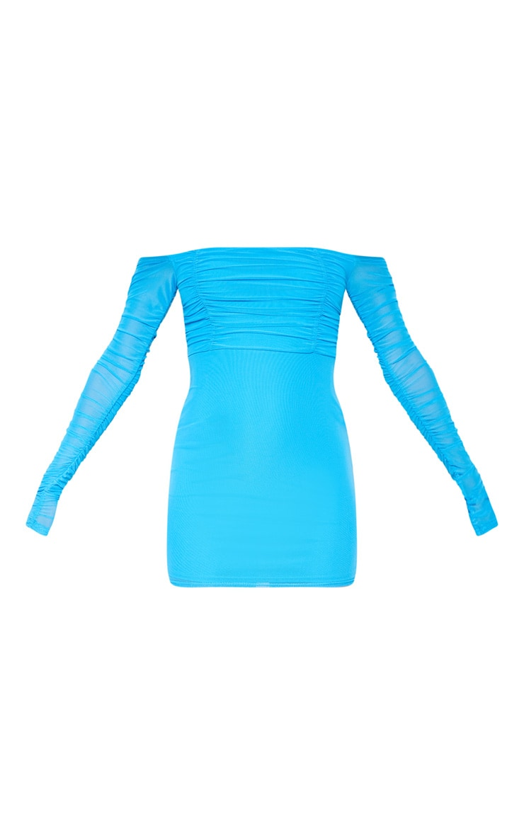 Blue Ruched Mesh Bardot Bodycon Dress 3