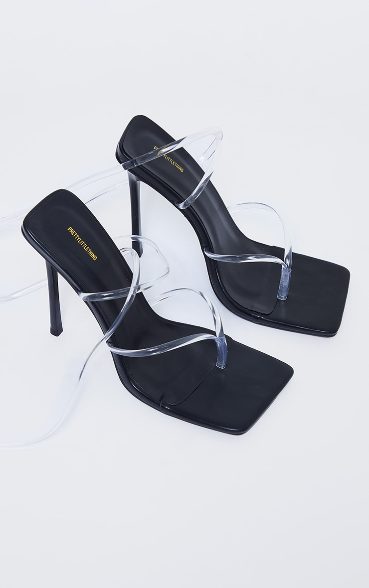 Black Square Toe Clear Lace Up Toe Thong Heels 4