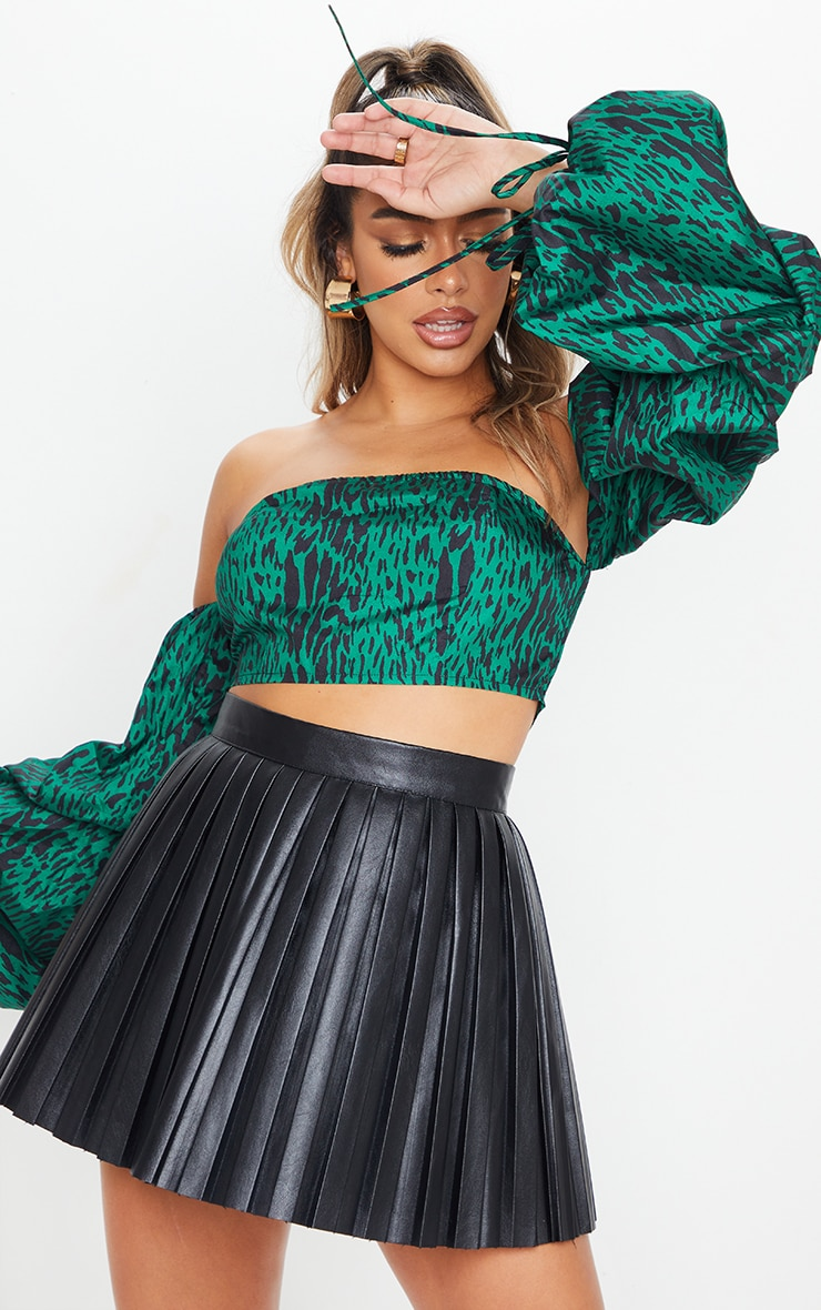 Green Animal Printed Bardot Extreme Ruched Sleeve Crop Top 1