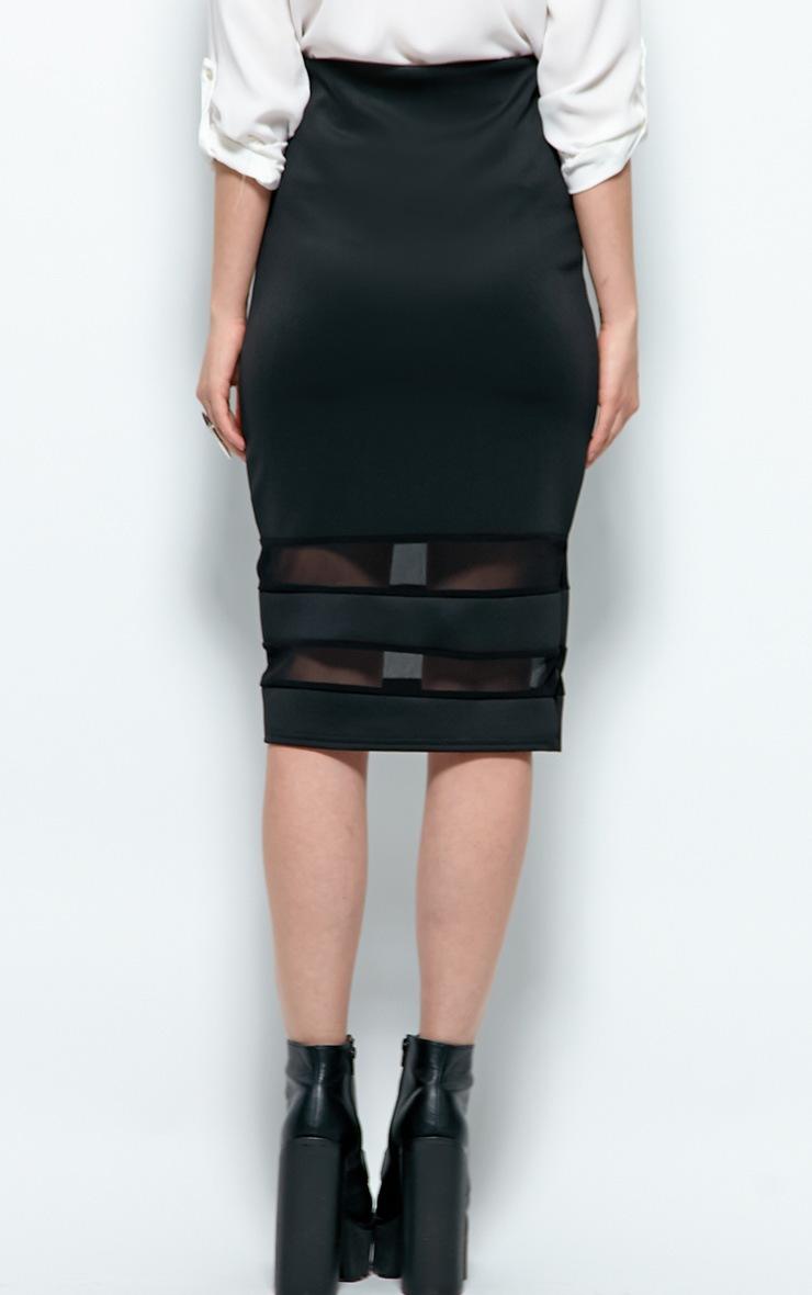 Cassandra Black Mesh Panel Midi Skirt 2