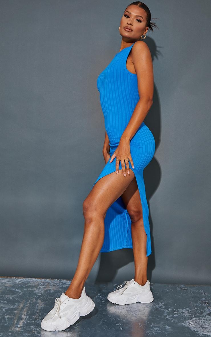 Recycled Blue Rib Split High Neck Midaxi Dress 3