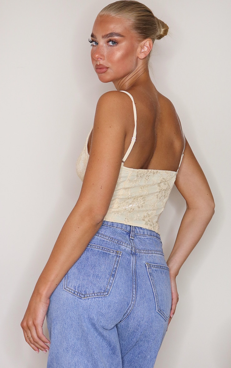 Cream Lace Tie Front Curved Hem Cropped Corset 2