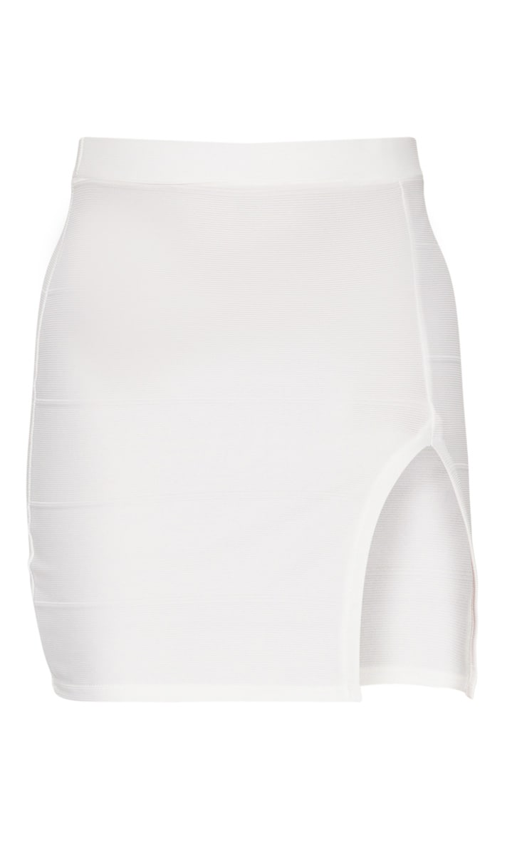 White Bandage Split Mini Skirt 3