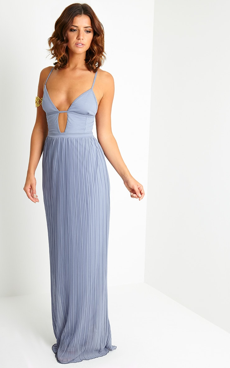 Hanna Grey Plunge Pleated Maxi Dress 4