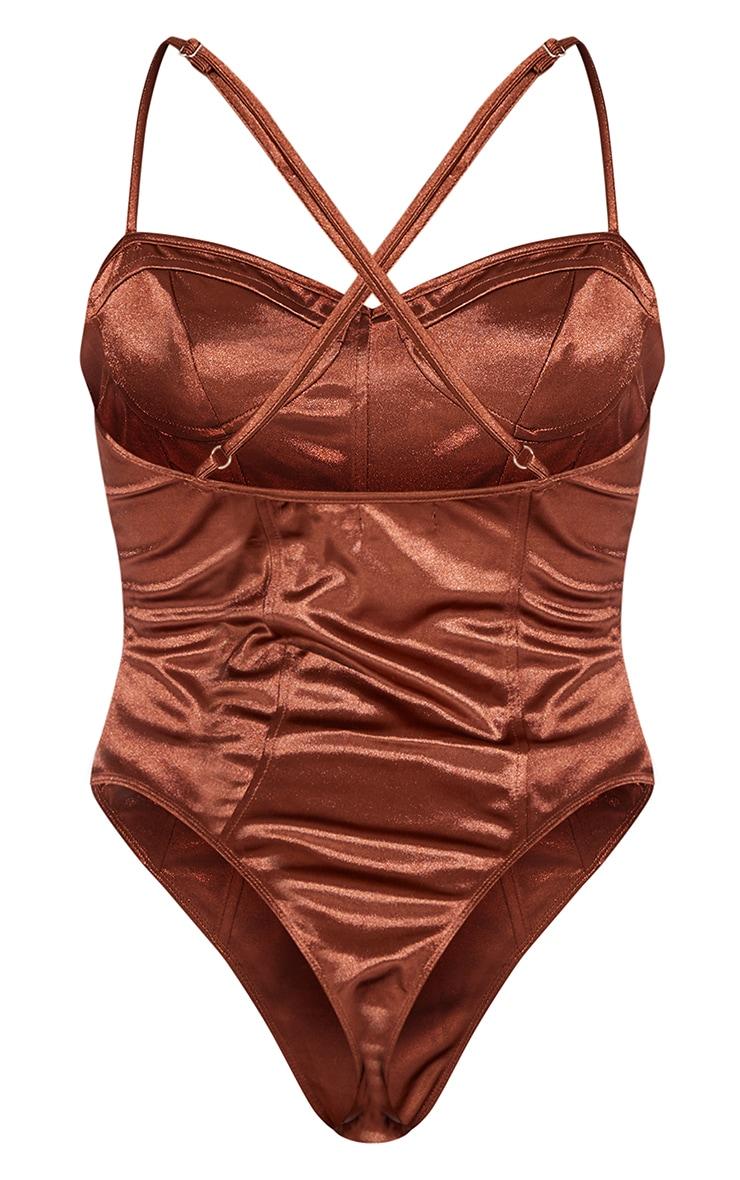 Chocolate Satin Panel Detail Cross Strap Bodysuit 6