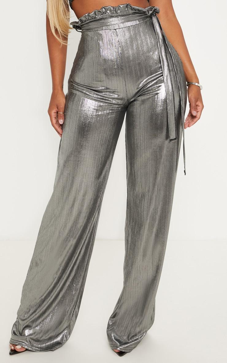Shape - Pantalon paper bag argenté métallisé à jambes évasées 2