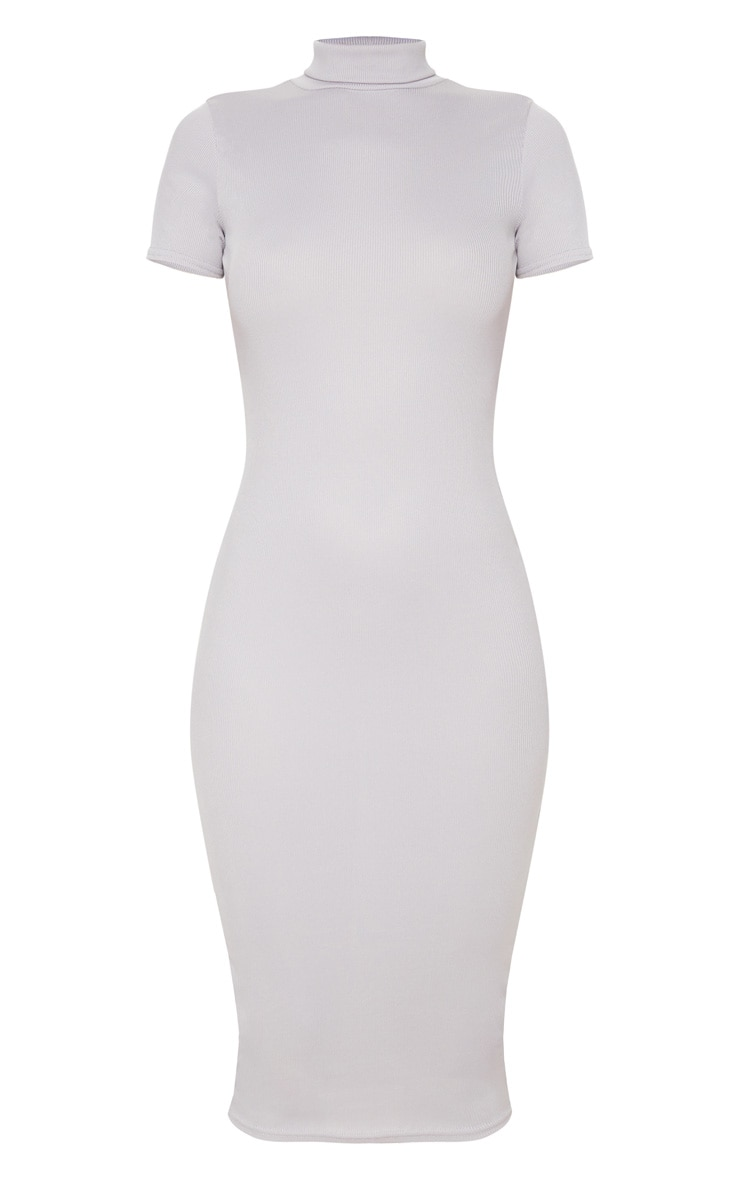 Grey Cut Out Back Roll Neck Midi Dress 3