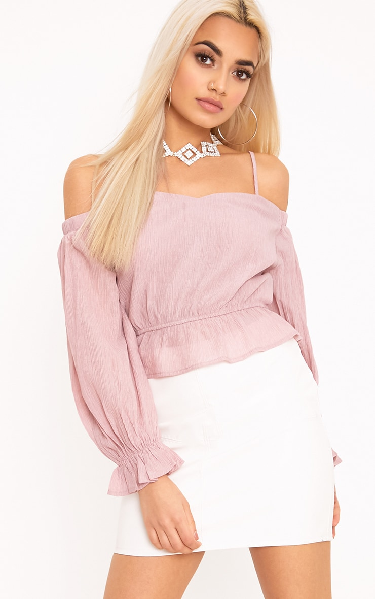 Renee Pink Bardot Cold Shoulder Blouse 1