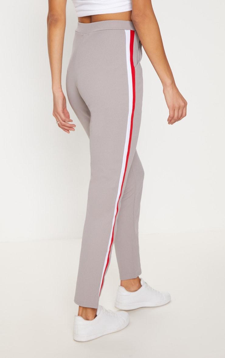 Grey Sport Stripe Cigarette Trousers  4
