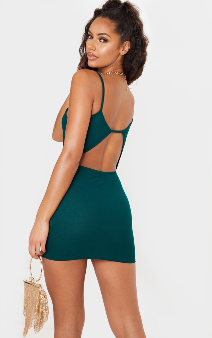 Plymouth front bodycon emerald green ruched dress ruched arm bandeau kuwait