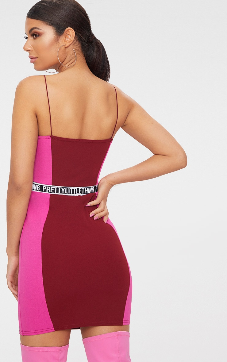 PRETTYLITTLETHING Burgundy Straight Neck Bodycon Dress  2