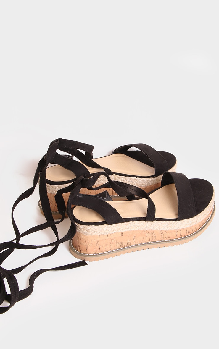 Black Wide Fit Faux Suede Tie Ankle Espadrilles 2