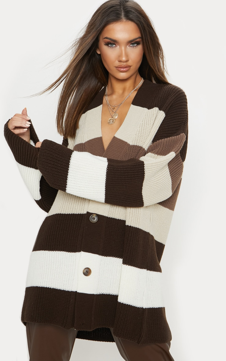 Stone Striped Knitted Cardigan  1