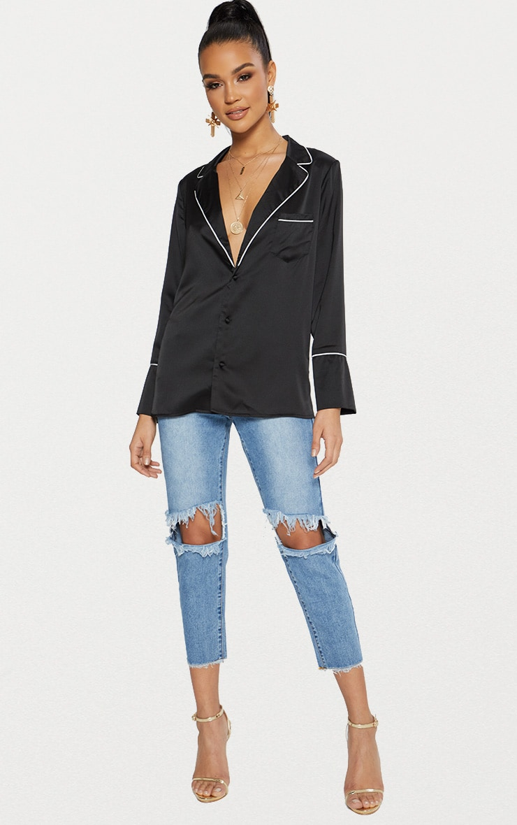 Black Satin Contrast Seam Oversized Shirt 4