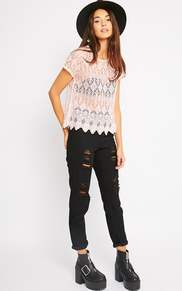 Nina Pink Scallop Trim Lace Top  3