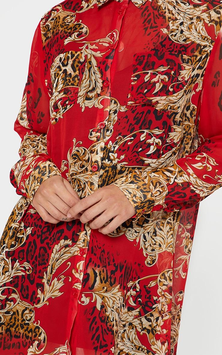 Red Baroque Print Chiffon Oversized Shirt Dress 4