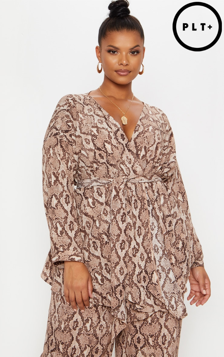 Plus Taupe Snake Print Woven Tie Waist Blouse