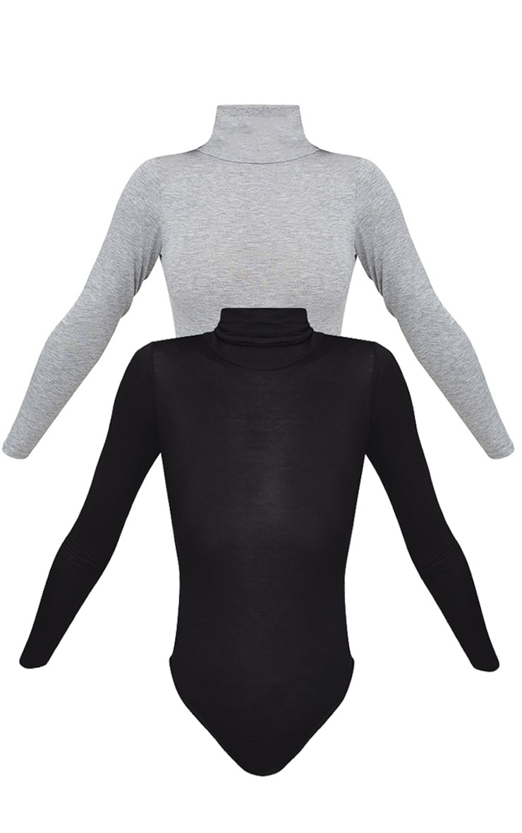 Essential Black & Grey Marl Cotton Blend Roll Neck Bodysuit 2 Pack 5