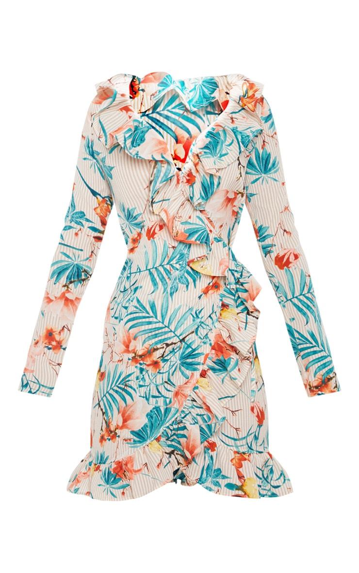 Beige Floral Stripe Frill Wrap Tea Dress 3