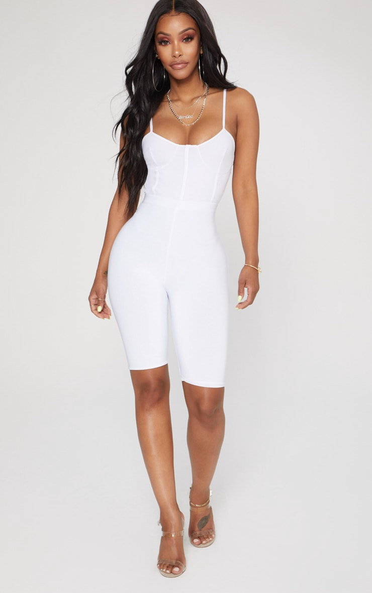 Shape White Mesh Bust Cup Strappy Bodysuit 5
