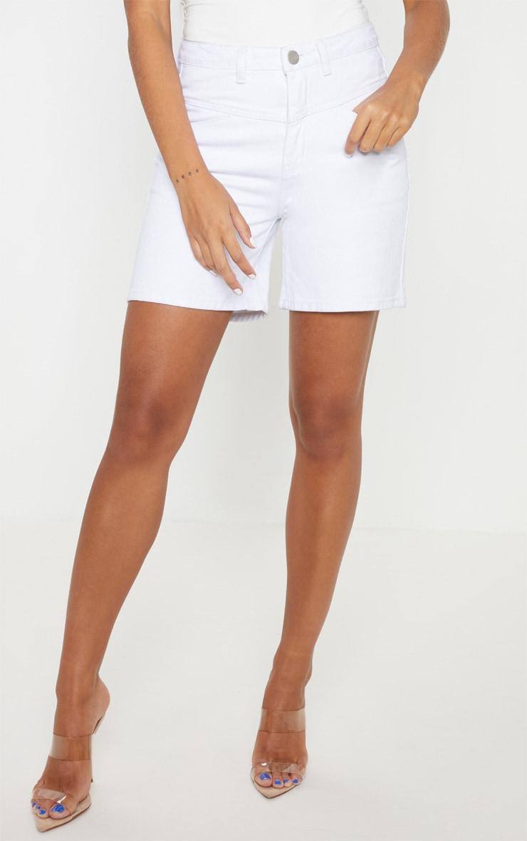 White Dropped Waistband Baggy Denim Shorts 2