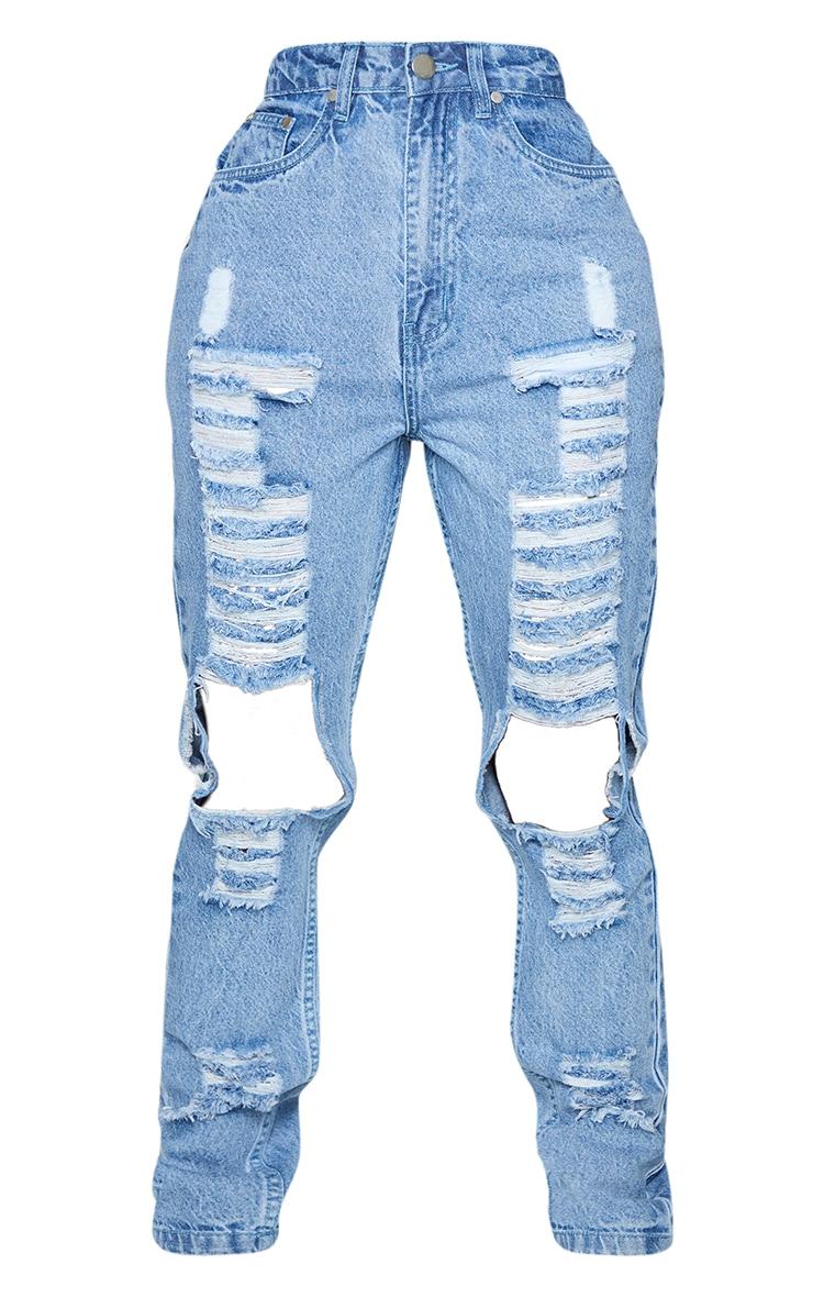 Shape Vintage Dark High Waist Extreme Ripped Straight Jeans 5