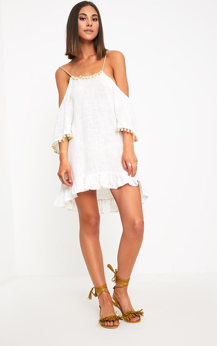 White Pom Pom Trim Mini Dress 4