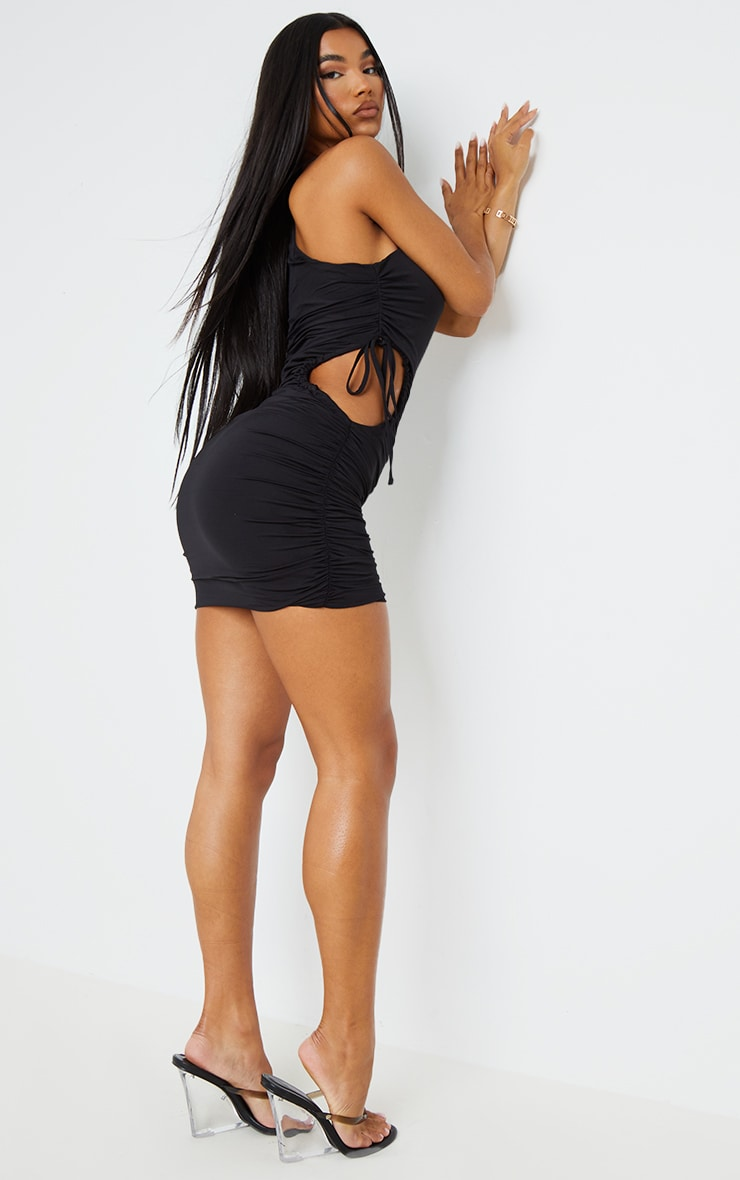 Black Slinky One Shoulder Cut Out Waist Bodycon Dress 2