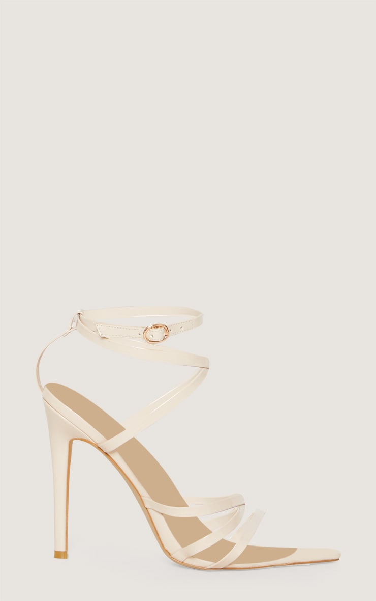 Nude Patent Strappy Point Toe Heels 3