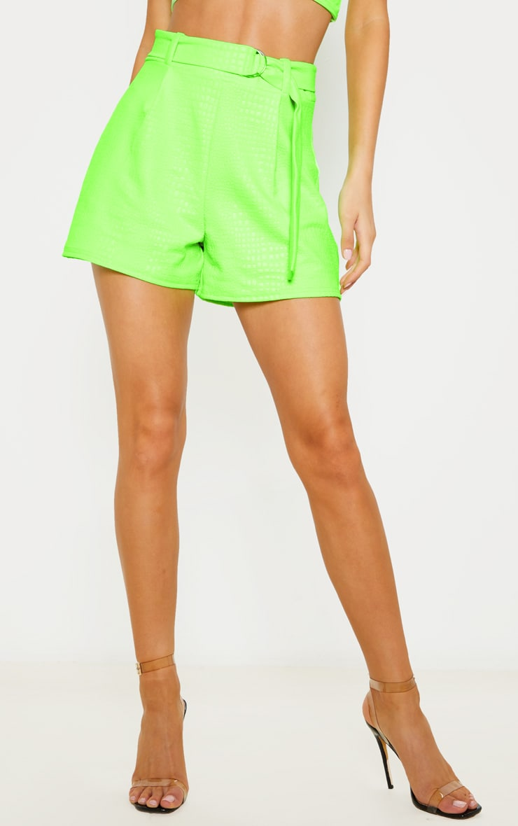 Neon Green Croc Print D Ring Belted Short 2