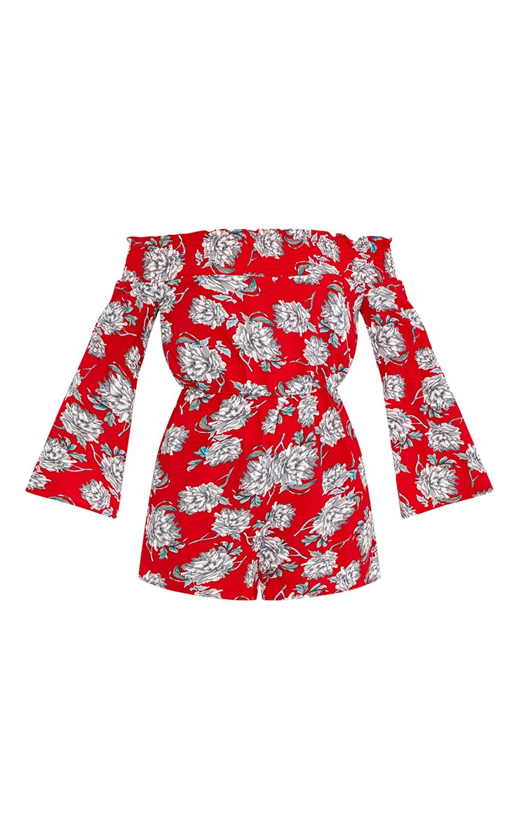 Red Floral Bardot Playsuit 3