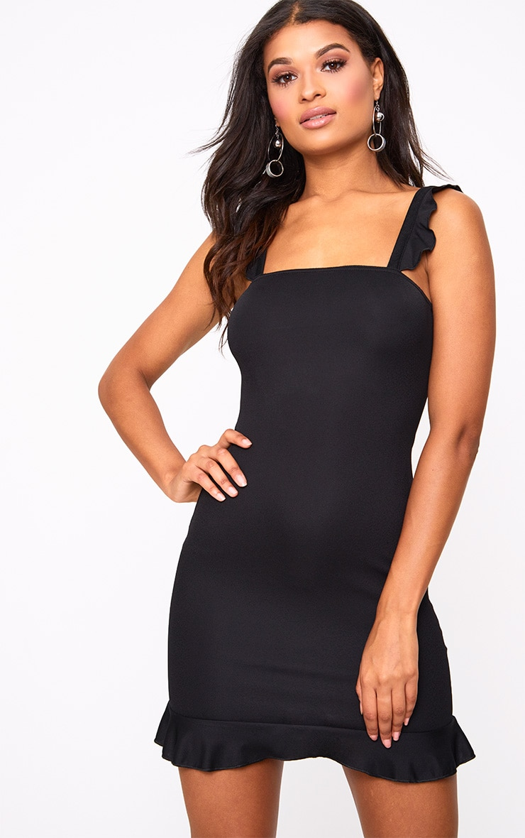 Black Square Neck Frill Strap Bodycon Dress 1