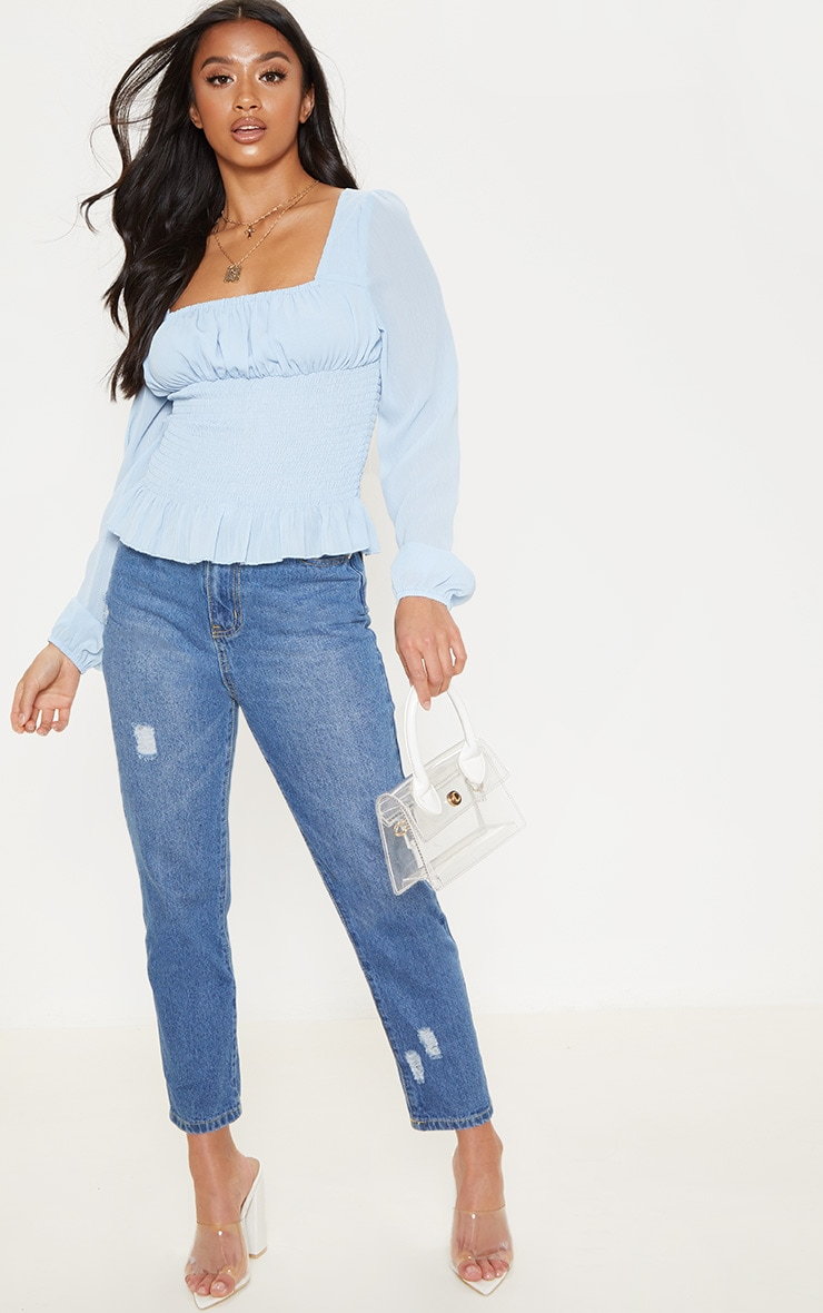 Petite Baby Blue Chiffon Shirred Long Sleeve Blouse 4