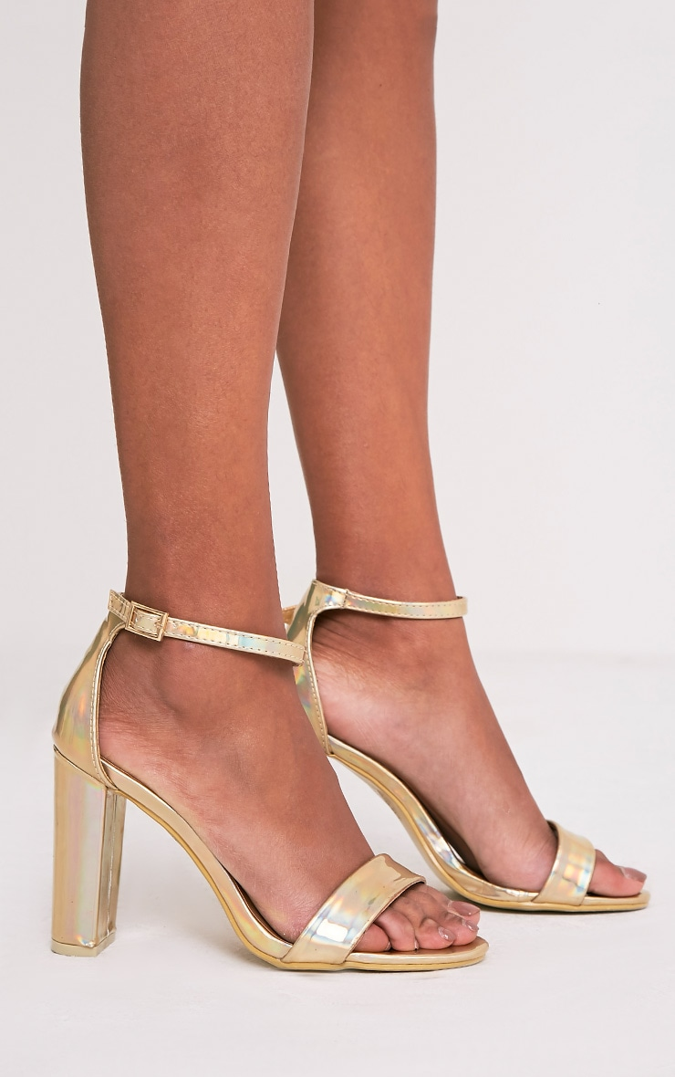 May Gold Holographic Block Heeled Sandals 4