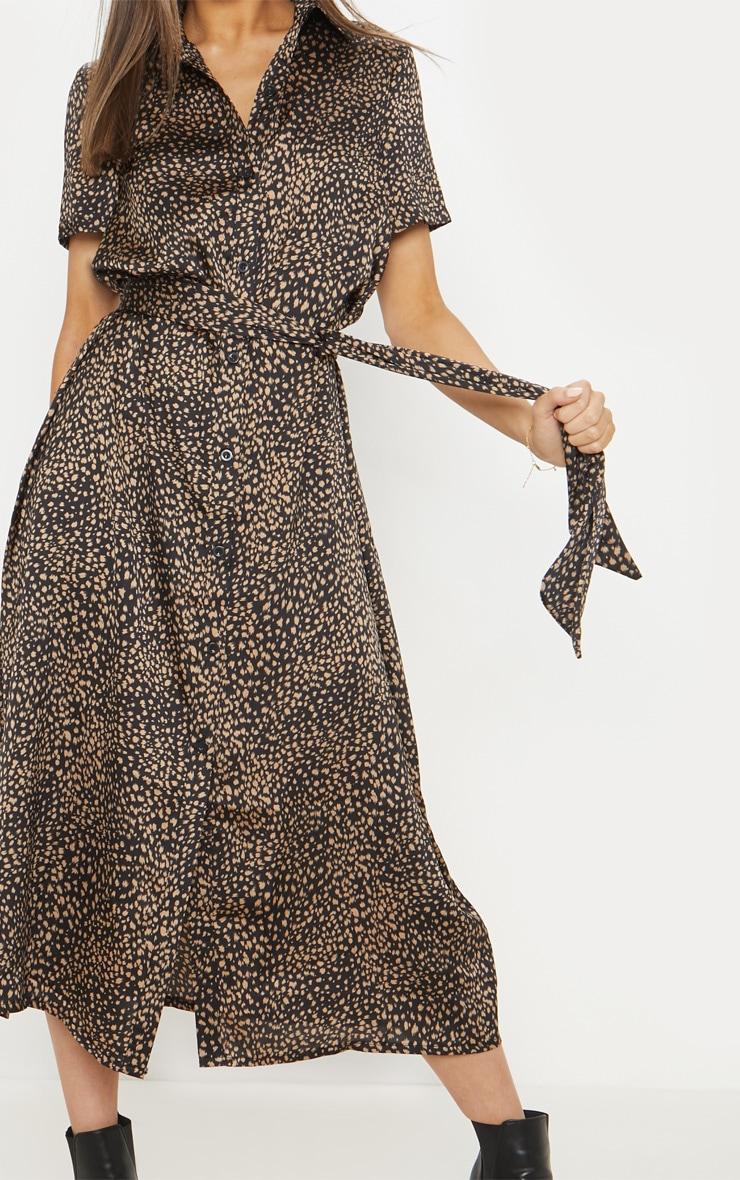 Black Dalmatian Print Short Sleeve Midi Shirt Dress 5