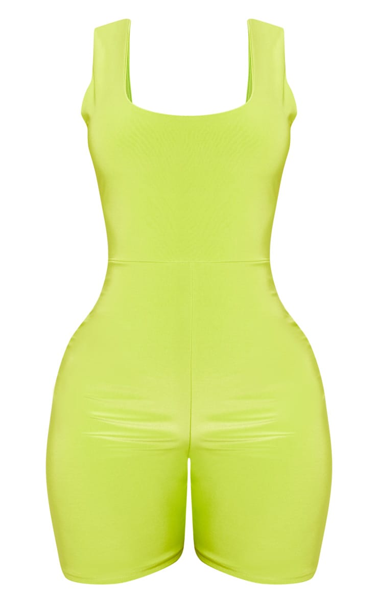 Shape Neon Lime Slinky Scoop Neck Unitard  3
