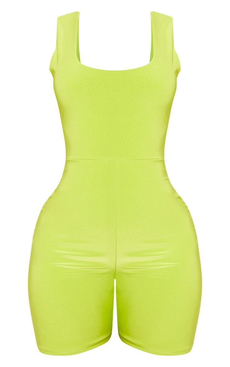 Shape - Combinaison moulante vert citron fluo à col rond 3