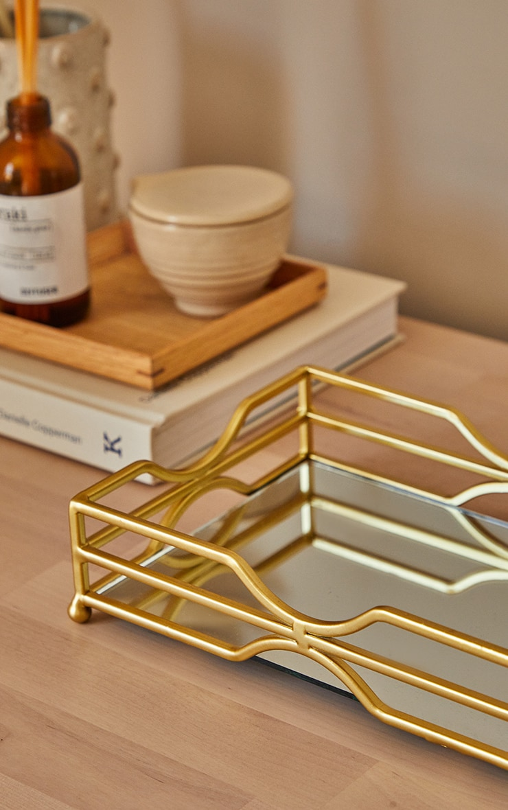 Gold Metal Tray With Mirror Base 2