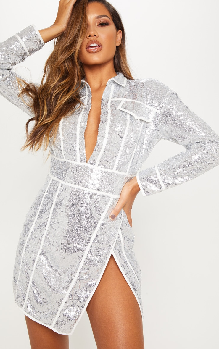 Silver Sequin Piped Detail Bodycon Dress 2